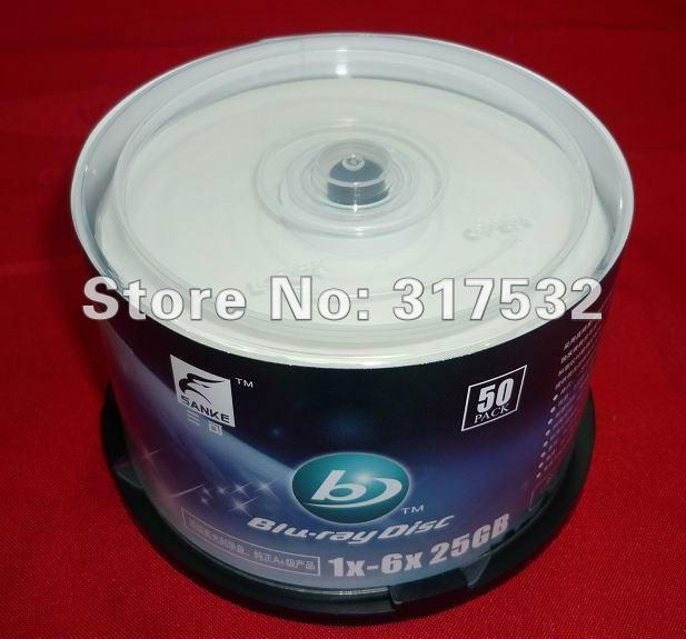 Free shipping Blu-ray disc BD-R 6X 25GB blank media 50pcs/lot
