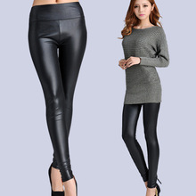 New Faux Leather Leggings Sexy Fashion High-waist Stretch Material Pencil Women Leggings Sexy Leggings Women  Free Size(China (Mainland))