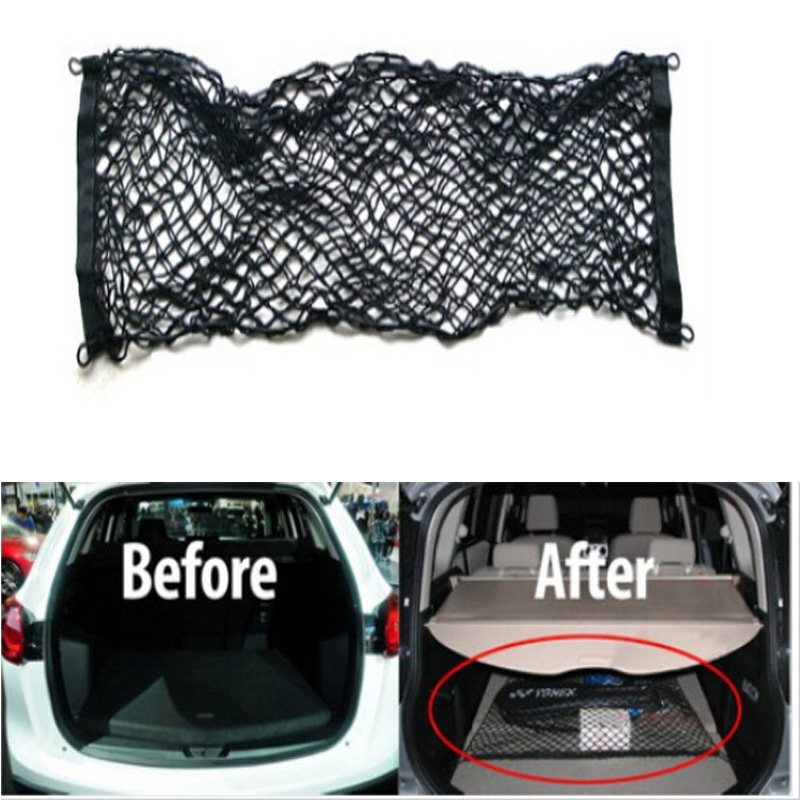 for Ford Escape KUGA Ecosport Car accessory Rear Luggage Cargo Net Trunk Vehicle Elastic Mesh Storage Holder 4 Hook Black 1pc