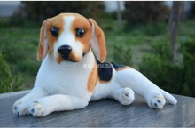Plush dog toy lovely small beagle dog cute lying beagle stuff doll about 30cm