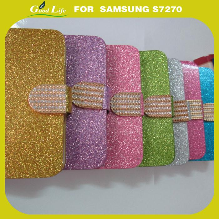 Leather Flip Case Samsung Galaxy Trend Lite S7390 S7392 Bling Glitter Rhinestone Cover Diamond Wallet Stand - GOOD LIFE SPARE PARTS store