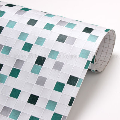 Self adhesive bathroom wallpaper waterproof mosaic wall - Stickers sur carrelage salle de bain ...