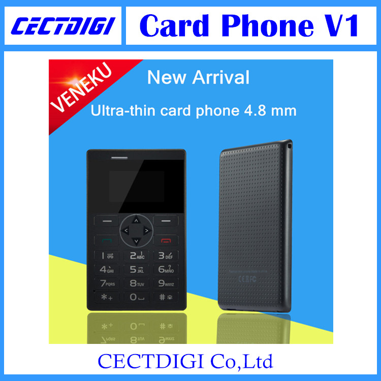 2015 mini Ultra-thin Mobile Phone Smallest Credit Card Pocket phone Bluetooth MP3 FM radio VENEKU V1 Big keyboard(China (Mainland))