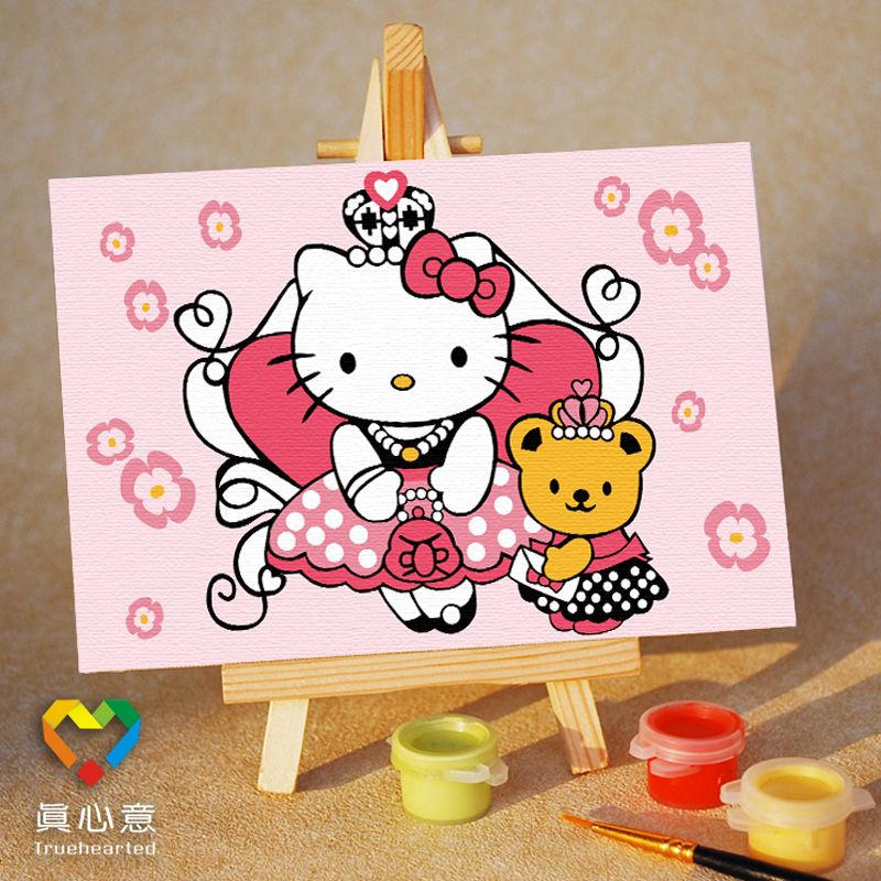 Colored drawing diy digital oil painting cartoon child painting kt cat bear princess 10 15 belt easel