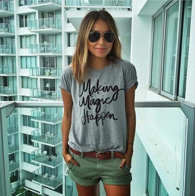 Летний Новый сделать волшебство случиться печатные Футболки для женщин футболка femme poleras camisetas футболка женские футболки женские топы