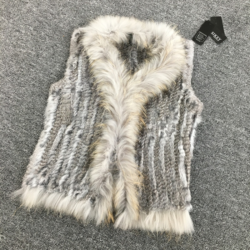 VR033 Women Genuine Natural Real rabbit fur Knitted Vests /Waistcoat/ gilet /coats with tassels Raccoon Fur collar(China (Mainland))
