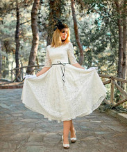 Buy New Vintage Design Short Full Lace Wedding Dress Half Sleeve O Neck Ankle Length vestidos de novia Bridal Gown Custom Made for $95.00 in AliExpress store