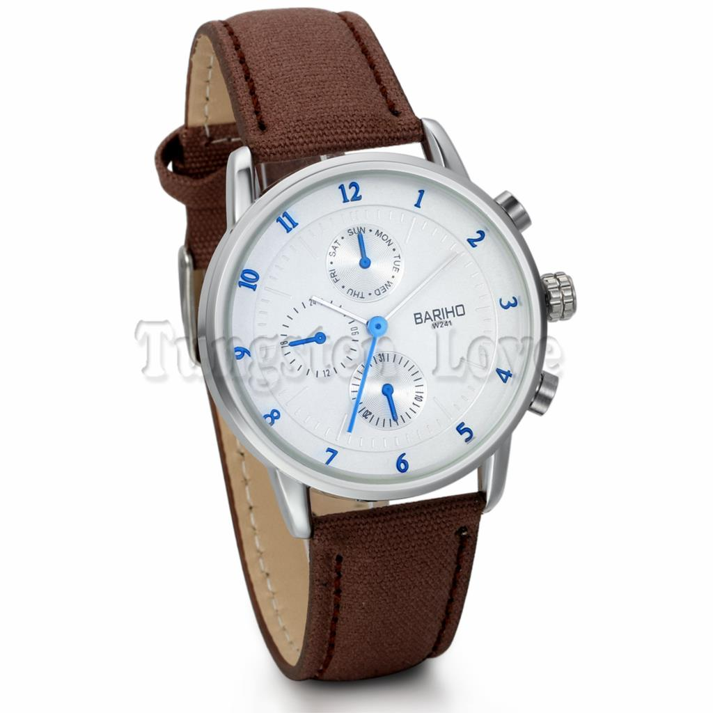 Vintage Men Quartz Sport Fake 3 small Case Brown Mens Leather Watches Dress Business Casual Wrist Watch Relogio masculino(China (Mainland))