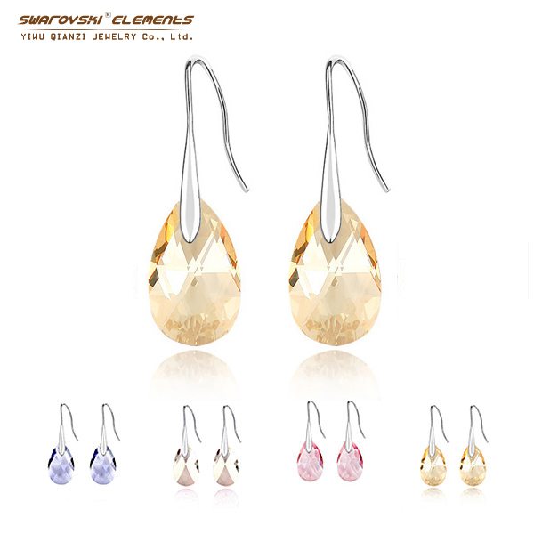 Free Shipping Dangle Water Drop Earrings women Swarovski Elements Crystal Fashion Original Made With Pendant Gift Pendientes(China (Mainland))