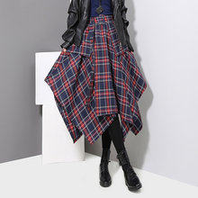 חדש 2019 קוריאני סגנון נשים חורף אדום כחול משובץ חצאית פיצול בודק ליידי סדיר גבוהה מותן מקרית האופנה Loose חצאית 3027(China)