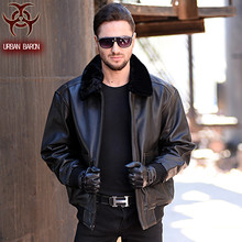 2016 USAF A2 Leather Pilot Jacket Brown Wool Collar Thick Genuine Cowskin Slim Fit Plus Size XXXXL Men Winter Coat FREE SHIPPING(China (Mainland))