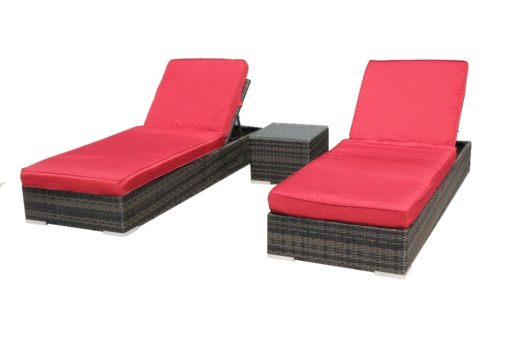 spring promotion patio furniture sun bed sun lounger sunbath bed 3 piece set us warehouse red. Black Bedroom Furniture Sets. Home Design Ideas