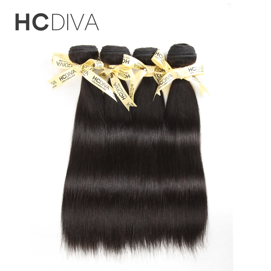 HCDIVA Hair Products Brazilian Virgin Hair 1 Piece Only Straight Natural Color 12″ to 28″ 100% Human Hair Bundles