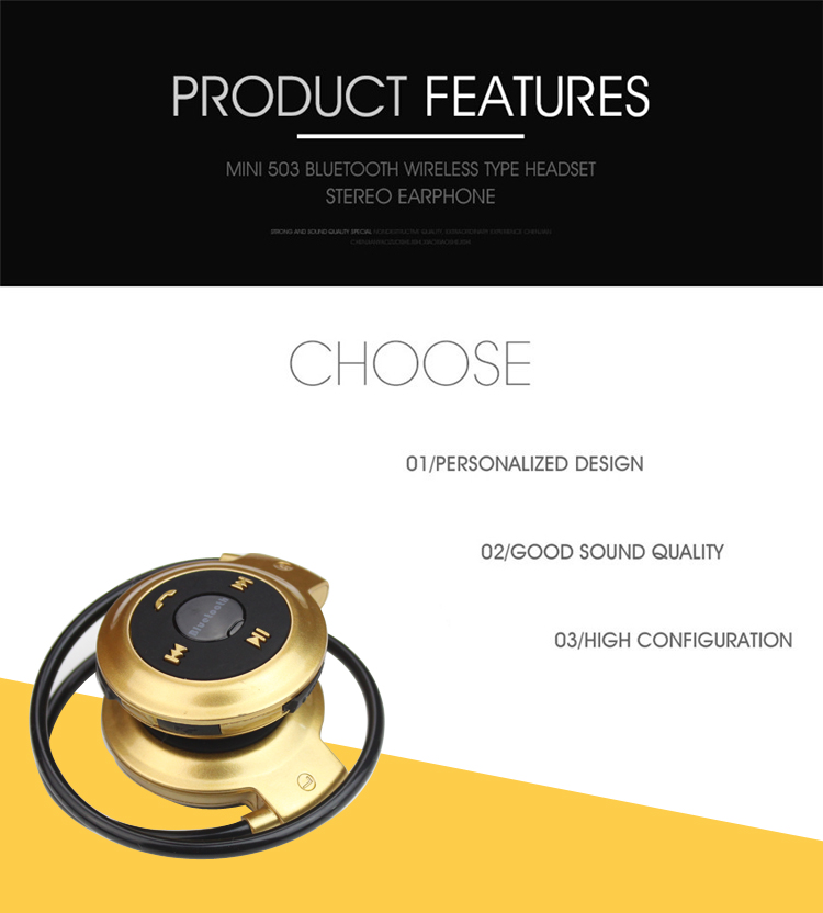 New universal Mini Sport Wireless Bluetooth Handsfree Stereo Headset Headphone Earphone With Micro SD Card Slot mp3 Player