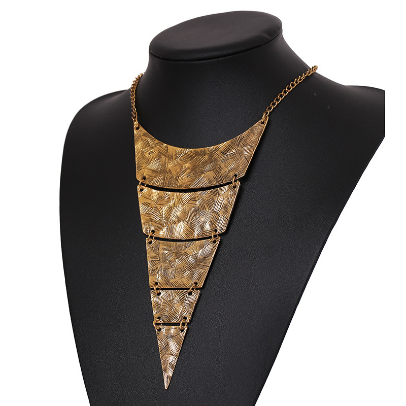 2014 New Fashion Star Jewelry Women 2 Colors Multilayer Geometric Triangle Exaggeration Style Alloy Vintage Necklace - NO.1 store