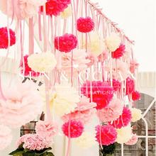 ( 20 cm ) 8 pulgadas hechos a mano 20 colores Tissue Paper Pom Poms flores de papel hechas a bola para la boda y la decoración casera