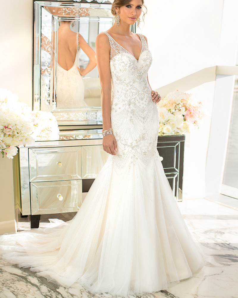 popular plunge back wedding dress buy cheap plunge back wedding dress
