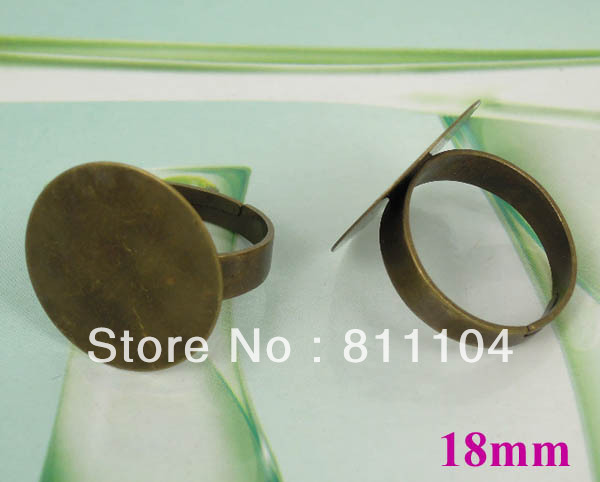 18mm Vintage Antique Bronze plated Brass Flat Circle Pad Caps Blank Ring Settings Base Cabochon Cameo Jewelry Making Wholesale(China (Mainland))