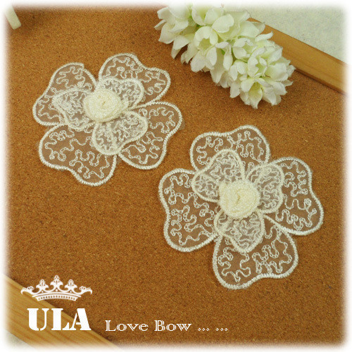Wholesale applique 3D rose designs DIY Decoration Lace Fabric Paste Decoraive Cloth Paste 3COLOR Lace Applique 20pcs/lot