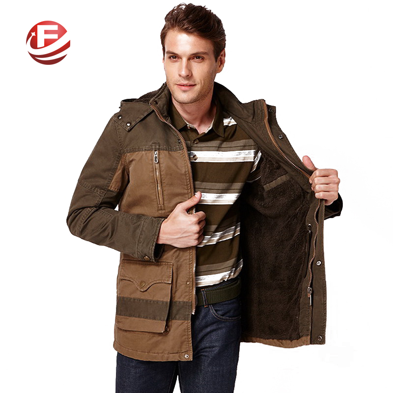 Big Pockets Warm Men Hooded Khaki Jackets Large Size L-3XL Patchwork Design Zipper Pocket Decorate Winter Man Casual Cotton CoatОдежда и ак�е��уары<br><br><br>Aliexpress