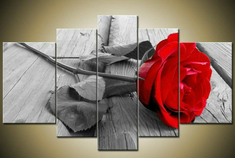 Handmade 5 Piece Wall Art Oil Paintings Canvas Flowers Pictures Living Room Unique Gift Red Rose F/028 - YES oil painting store