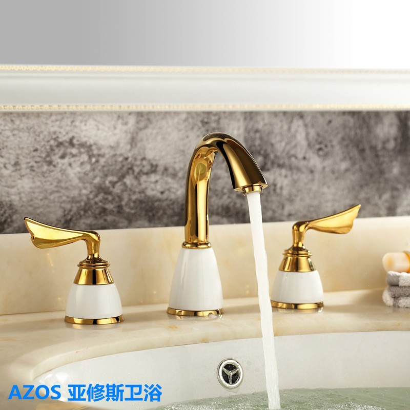 AZOS Golden Color Tap Ceramic 2 Handle Waterfall Bathroom Basin Sink Bathtub Mixer Faucet Hot Cold Water - Roy Huang store