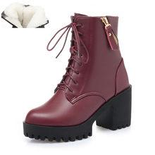 Aiyuqi 2020 Mới Mùa Đông Nữ Giày Da Thật Chính Hãng Da Cao Gót Gót Dày Nền Tảng Ấm Giày Len Cưới Giày Đỏ(China)