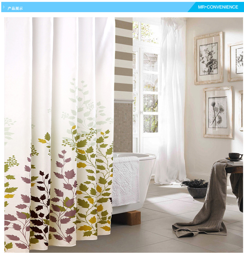 Leaves Thick Warm Shower Curtain Flower Mildew Waterproof Polyester Fabric Grommet Lead Wire