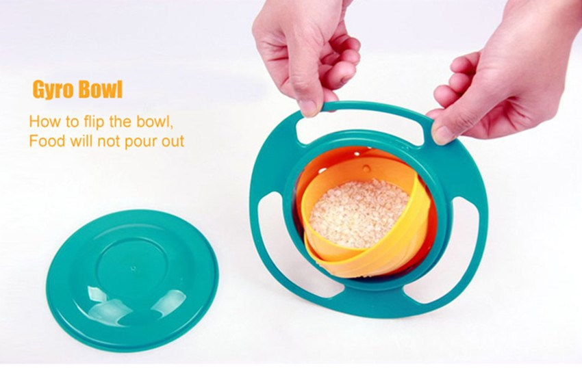 Baby practices bowl Novel and fun Baby Dinnerware Bowl Children Baby Toy Universal 360 Rotate Spill-Proof Bowl Dishes Dinnerware