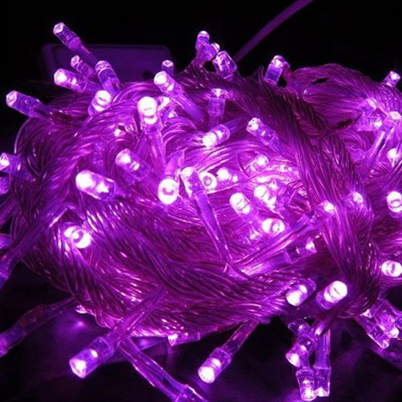 10m LED String Light Lamp Purple Waterproof Christmas Tree Flashing Light Party 220V AC TB Sale(China (Mainland))