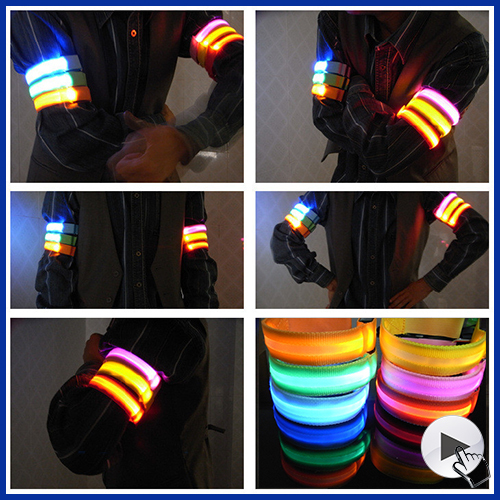 Nylon Lumineux Decorations Armbands Night Reflective Wristband LED Bracelet Glow in the Dark Party Supplies Events Favors(China (Mainland))