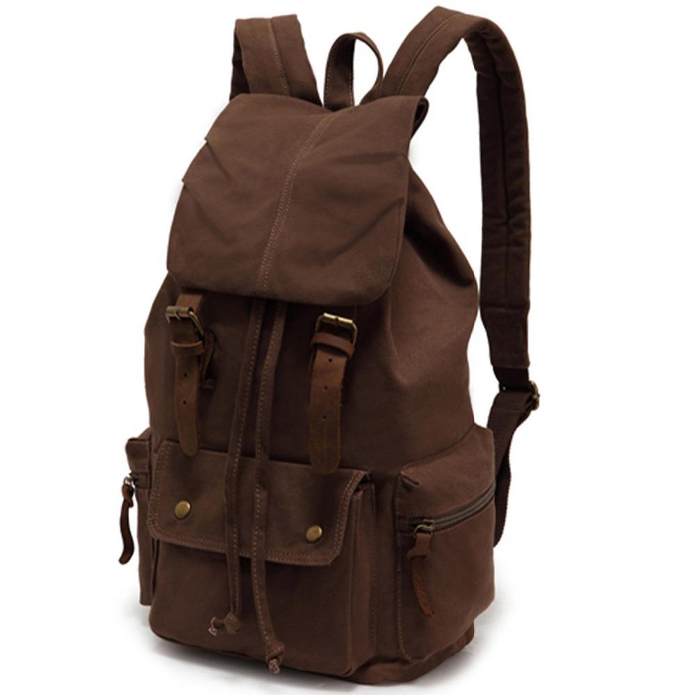 ecocity vintage genuine leather canvas backpack. Black Bedroom Furniture Sets. Home Design Ideas