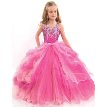 Beauty pageant ball gowns for girls Ball Gown Flower Girl Dresses Cheap Plus Size Girls Wedding Party Dress primera comunion(China (Mainland))