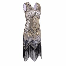 Buy Great Gatsby Dress Women Sequined Dress V Neck Beaded Sequined Art Deco Flapper Dress 1920s Vintage Party Dresses Sexy Club for $24.59 in AliExpress store