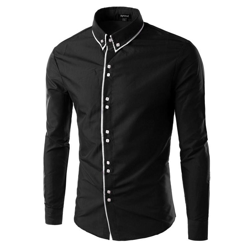 2015 New Arrival 8 Colors Mens Slim Shirt Fit Casual Blouse Unique Neckline Long Sleeve Shirts Turn-down Collar Man Shirt M-XXXL(China (Mainland))