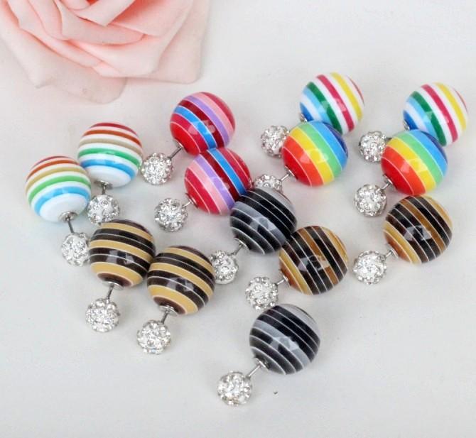 Earing Rushed 2015 Sale New Geometric Women Pendientes Jewelry Markings Shampoo Pull Double-sided Pearl Stud Earrings E550