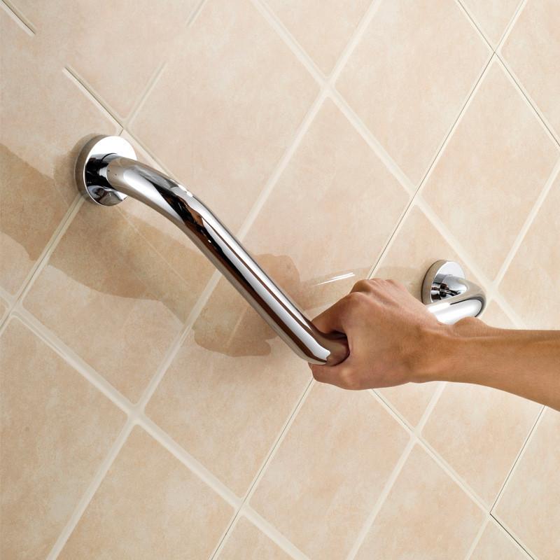 Купить 18 дюймов латунь поручни угловой ванная комната безопасности ванну поручень железнодорожных рукоятка хром латунь настенное крепление 11 - 138