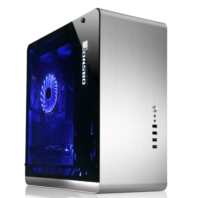 Jonsbo umx4 silver Tempered glass penetration version large-panel atx aluminum computer case