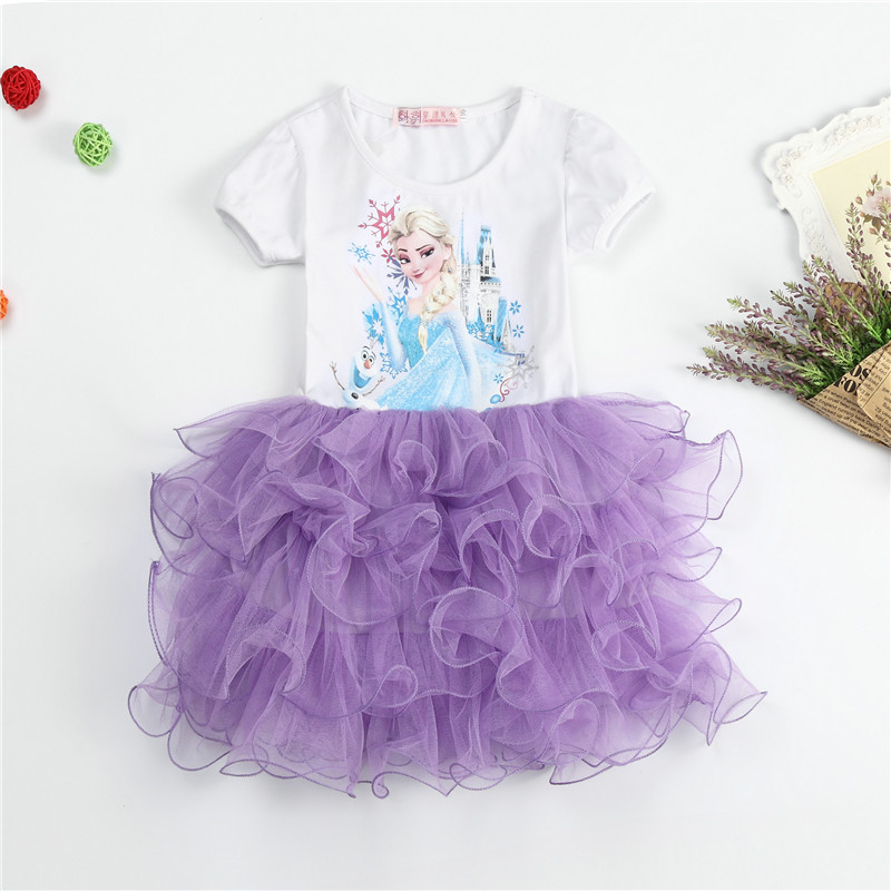 New Summer Elsa Anna Baby Girl Tutu Dresses For Toddler Girl Clothes Princess Birthday Party Cute Cartoon Elsa Dresses Size 3-8Y(China (Mainland))
