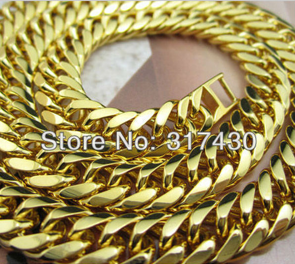 """Wholesale Lowest Price Thick 18k yellow gold Filled double Curb Link Chain Necklace mens or womens 18"""" GF Jewelry Free Shipping(China (Mainland))"""