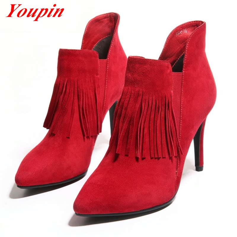 Elastic band Thin Heels Pointed Toe Fringed boots 2015 Latest autumn winter fashion Black Red Warm short plush Women ankle boots<br><br>Aliexpress