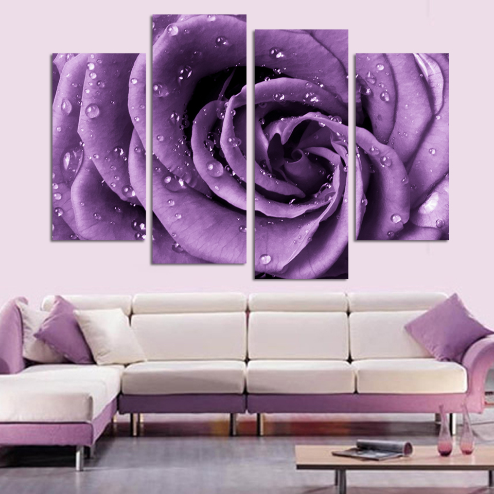 free shipping 3 piece wall art white purple lover flower big perfect canvas wall art on canvas. Black Bedroom Furniture Sets. Home Design Ideas