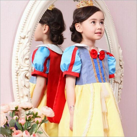 2015 New girls summer snow white dress kids lovely cosplay princess party dress baby cute fashion dresses freeshipping(China (Mainland))