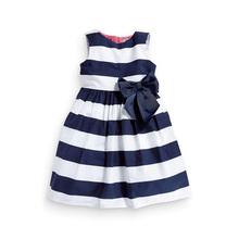 Baby Kid Girls One Piece Dress Blue White Striped Bow Summer Tutu Dress
