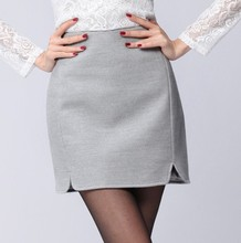 New Fashion OL High Waist Skirts Women Slim Package Hip Step Skirt Saias Thick Warm Woolen Faldas Mujer