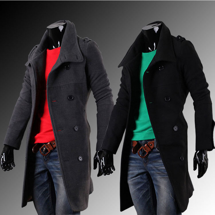 Top quality double-breasted men winter long woolen jacket coat outwear overcoat 2 colors M-2XL Одежда и ак�е��уары<br><br><br>Aliexpress