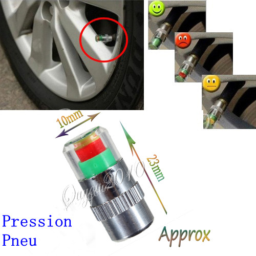 Best Price New 4Pcs/lot Car 36 PSI Tire Pressure Monitor System Caps Sensor Indicator 3 Colors Eye Alert Tyres Accessories Cars(China (Mainland))