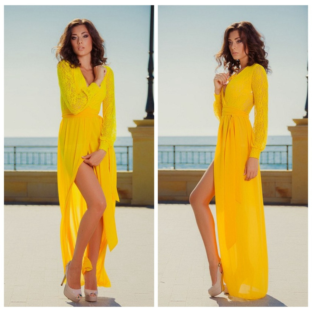 Long Sleeve Yellow Dress