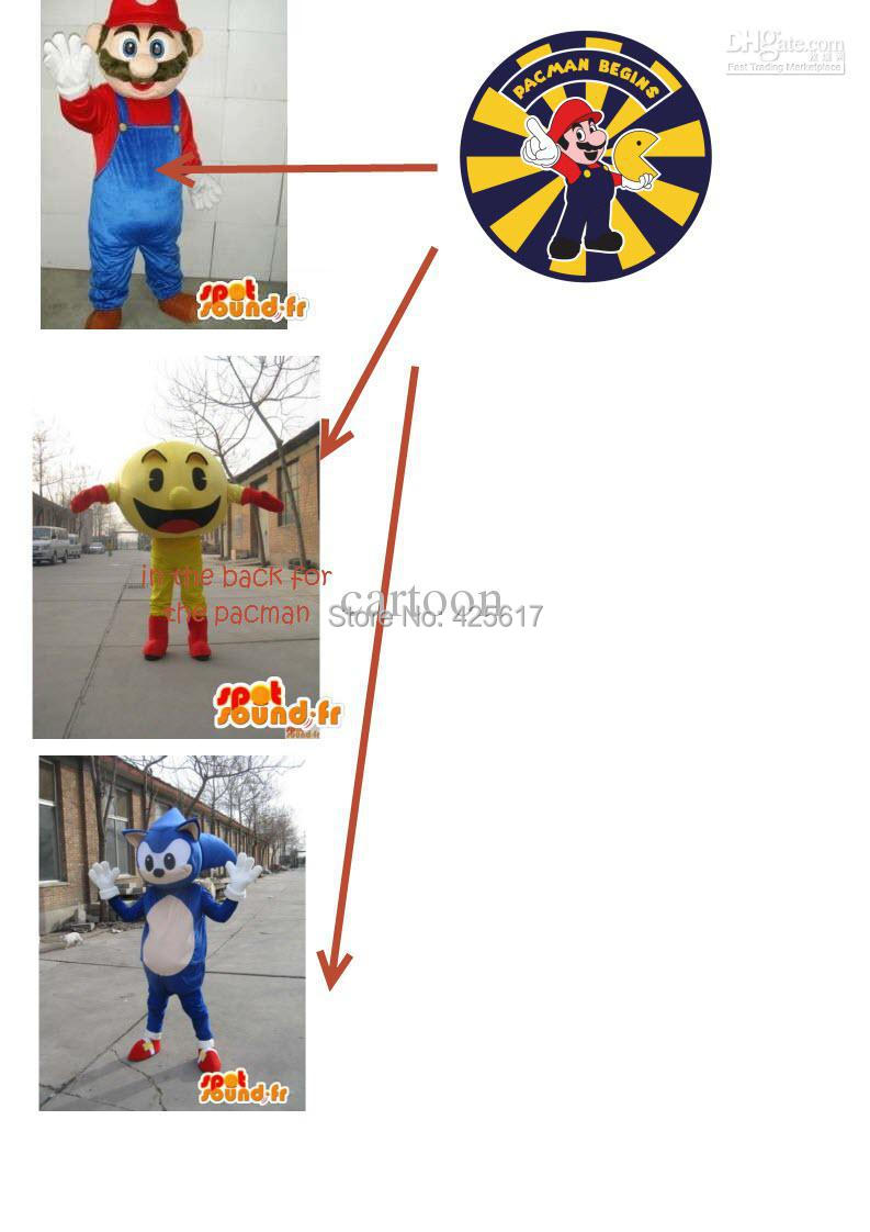 Hot selling!New customized one pacman;one sonic. mario Cartoon Fancy Dress Suit Outfit Animal Mascot Costume - Sam's World store