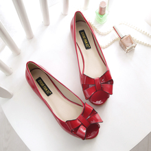 Discount Cheap Peep Toe Cute Bowknot Black Pink Red Apricot Patent Leather Large Size 40 41 42 43 Flats Shoes Women All-match - Fashion Supermarket for U store